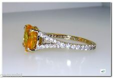 18k White Gold 4cts TW Huge CANARY Yellow Sapphire Diamond Ring SZ 6 Solitaire