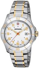 WENGER DRESS WHITE DIAL DATE SAPPHIRE TWO-TONE ST.STEEL MENS WATCH 70477 NEW