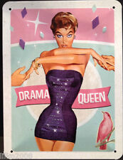 DRAMA QUEEN! 20X15 CM  FUNNY RETRO-STYLE METAL WALL SIGN. FREE UK POSTAGE.