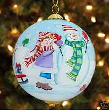 "2015 Pier 1 Li Bien Hand-Painted Glass Christmas Ornament ""Snowman & Kids"""