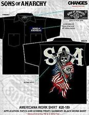 Authentic Sons Of Anarchy Americana Flag Reaper Shirt Biker Button Work Shirt M