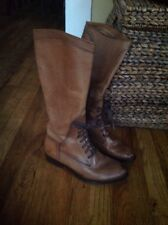 FRYE 'Melissa' Riding Lace-Up Tall Knee High Boots Brown SIZE 9.5