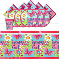 Garden Girl Butterfly Children's Birthday Party Complete Tableware Pack For 16
