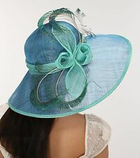 Wide Brim Straw Kentucky Derby Hat Sinamay w Peacock Feathers Blue w Turquoise