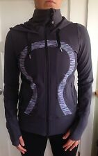 Lululemon Size 6 Stride Hoodie Zip Up Jacket Grey Wee Are From Space Striped EUC