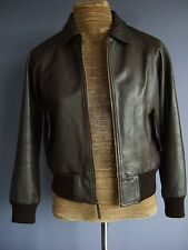 J. Crew Brown Leather Flight Bomber Jacket Sz M