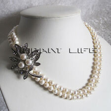 "18-19"" 5-6mm White 2row Freshwater Pearl Necklace D Jewelry UK"