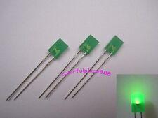 100pcs, 2x5x7mm Green Diffused LED Rectangle Rectangular Leds + Resistor for 12V