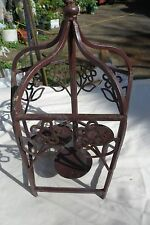 "Bird Cage BROWN Metal  Candle Holder 12"" tall"