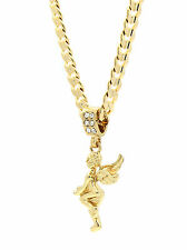 "Mens 14k Gold Plated Cz Angel Pendant Hip-Hop 24"" Cuban Link Necklace Chain"
