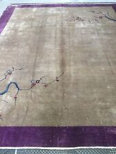 Antique Nichols Chinese Art Deco/ Oriental Hand Made Rug 11:5 X 9:3