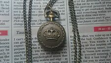 MINI Bronze Pocket Watch Necklace Pendent  With Royal Crown design+ Velvet Pouch