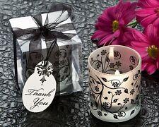 96 Frosted Black & White Floral Votive Tea Light Candle Holder Wedding Favor
