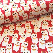 Sevenberry Lucky Cats Japanese Textured Cotton By The Half Metre