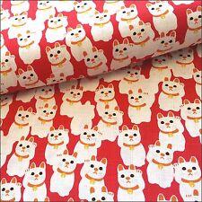 Sevenberry lucky chats japonais en coton texturé par le demi mètre