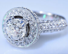 1.60 ct. Solitaire Diamond $11,900 Halo Engagement Ring 14k White Gold Size 5.5