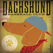 DACHSHUND SMOOTH HAIRED BASKETBALL CLUB DOG RETRO ADVERTISING POSTER ART PRINT