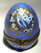 LIMOGES TRINKET / PILL BOX SIGNED  GILDED BIRD EGG BIRD CLASP