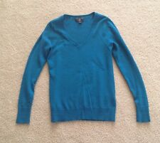 Banana Republic Women Teal Turquoise Blue Merino Wool V-Neck Sweater Petite XS