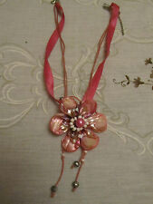 "Pink Shell Flower Necklace on Ribbon & Cord - 19-22"" long"