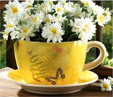 """LARGE 12½"""" GARDEN YELLOW BUTTERFLY TEACUP PLANTER & PLATE ** DRAIN HOLE  ** NIB"""