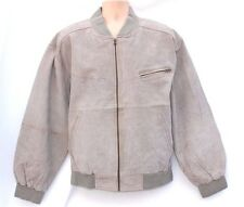VTG Grey 100% Real Leather M.FLUES Bomber Harrington Men's Coat Jacket size XL