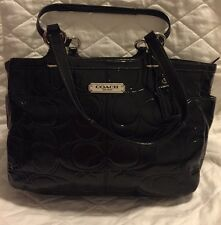 Coach 19462 Gallery Embossed Patent Leather E/W Tote Bag Purse BLACK