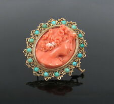 Vintage Natural Untreated Coral Cameo & Turquoise 18K Yellow Gold Pendant Brooch