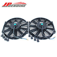 "10"" PULL/PUSH 12V SILM ELECTRIC RADIATOR MOTOR COOLING FAN PAIR  - UNIVERSAL 3"