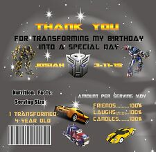 Transformer Candy bar wrappers, Transformers, Transformer Invitation, Birthday