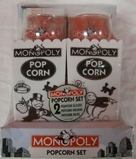 PARKER BROTHERS MONOPOLY POPCORN BOWL SODA GLASS GIFT SET collectible holiday 87