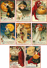Vintage images Halloween greetings pumpkin cards tags altered art ATC set of 8