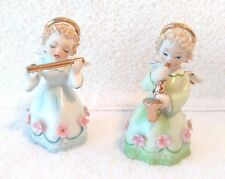 Vintage Lefton Bone China Angels with Flute & Saxaphone Figurine with Pink Flowe