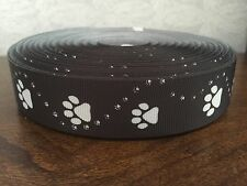 "1m Black Dog Paw Print Collar Lead Printed Grosgrain Ribbon, 1"" 25mm"