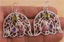Peridot Amethyst Tourmaline Garnet 925 Sterling Silver Jewelry Earrings AU577