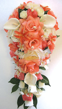 Wedding Bouquets 17 piece package Bridal Silk Flower CORAL Ivory CALLA LILY