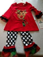 RARE EDITIONS GIRLS CHRISTMAS REINDEER 2 PIECE TOP & PANTS SET SIZE 2T NEW