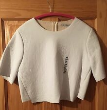 Zara White Imitation Leather Knit Top Size M Faux Shearling Lining BNWT