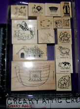 STAMPIN UP NOAH AND HIS ARK 15 RUBBER STAMPS ANIMALS BOAT BEAR LION PIGS LAMBS