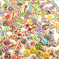 Hot 100pcs 15mm Mixed Round Pattern 2 Holes Wood Buttons Sewing Scrapbooking