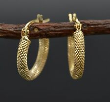 #AS01 Italian 14k Solid Yellow Gold Textured  Hoop Earrings. 15MM