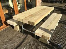 INDUSTRIAL UN-SANDED Solid Sleeper Outside Table And Benches /Garden Furniture