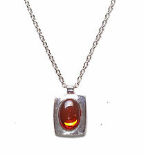 Ladies Bold Silver Chain & Orange  Gem Stone Pendant Necklace Unique (Zx59)