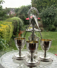 Antique Silver Plated Elkington Egg Cup Holders Stand Spoons