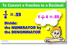 Convert Fraction to Decimal - Math Poster
