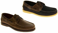 Gents Leather YACHTSMAN Smart Formal Lace Up Comfy Cosy Boating Deck Shoes 7-12
