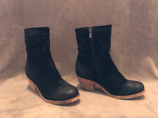 NEW ANTHROPOLOGIE ANTELOPE BLACK PATCHWORK MIDCALF BOOTS SHOES SZ 37