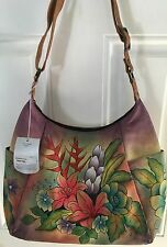 ANUSCHKA Hand Painted FLORAL  PRINT DESIGN Leather HOBO NWT