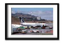 Britannia Airways 737 at Funchal Framed Print (15 x 10 inch)