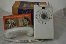 Vintage Western Electric Bell System WHITE  554 BR  Rotary Wall Telephone +Box